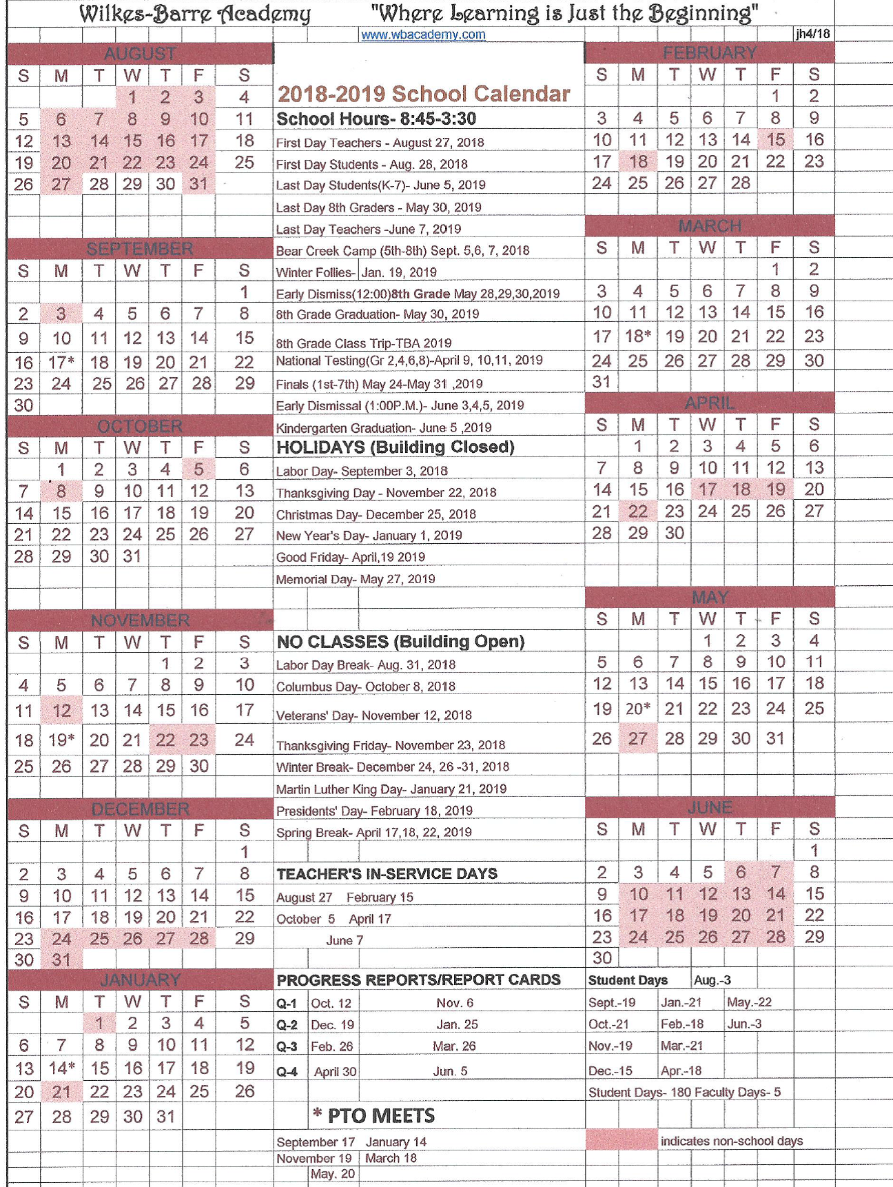 Xlsx Year Calendar : Wilkes barre academy yearly calendar