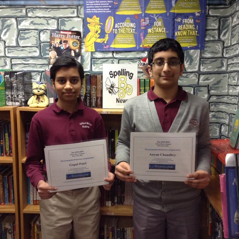 The 2018-2019 Spelling Bee First and Second Place Winners